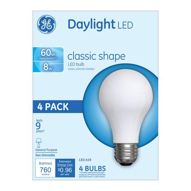 Emballage avant d'ampoules à usage général à A19 usage général non dimmables GE Daylight 60 W de remplacement (4-Pack)