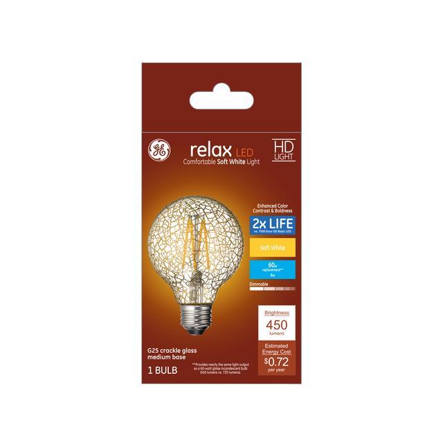 Paquet avant de GE Relax HD Soft White 60 W Remplacement ampoules LED Décoratif Crépitement Globe De Verre Base Moyenne G25