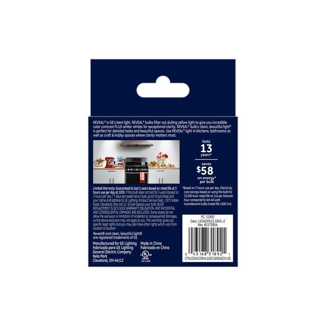 Paquet arrière de GE Reveal HD+ Écouleur de couleur 40W Ampoules LED de remplacement Ventilateur de plafond clair Base moyenne A15 (2-Pack)