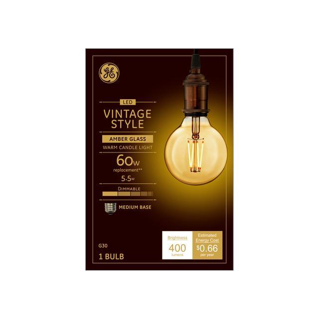 Emballage avant de GE Vintage Warm Candlelight 60 W Remplacement LED Amber Finish Filament droit Décoratif Base moyenne G30 Ampoule de lumière (1-Pack)
