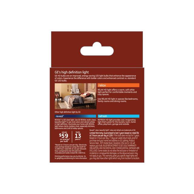 Paquet arrière de Relax HD Soft White 40W Ampoules LED de remplacement Clear Ceiling Fan Candelabra Base A15