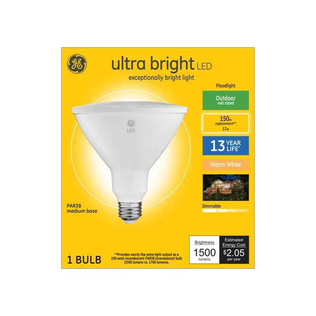 Ensemble avant de GE Ultra Bright Warm White 150 W Remplacement LED Projecteur extérieur PAR38 (1-Pack)