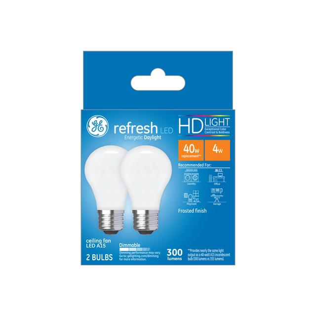 Ensemble avant de GE Refresh HD Daylight 40W Ampoules LED de remplacement Ventilateur de plafond blanc Base moyenne A15 (2-Pack)