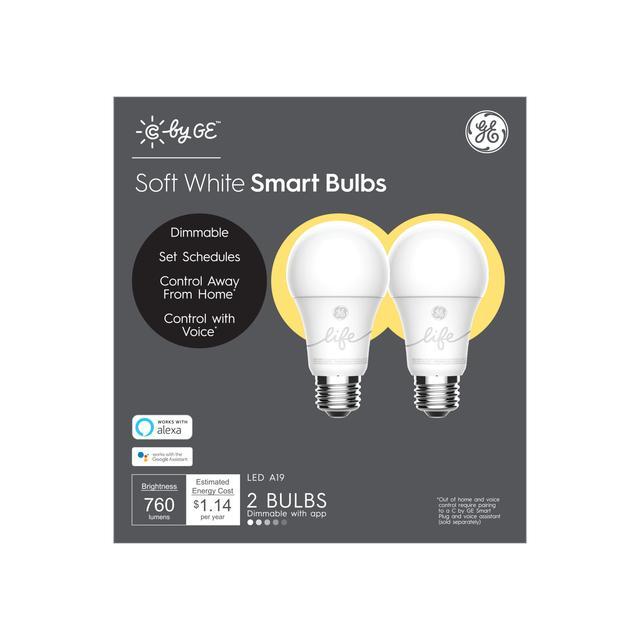 Ensemble avant de GE C by GE Smart EQ 60 watts A19 Soft White Dimmable Smart LED Ampoule (2-Pack) (l'emballage peut varier)