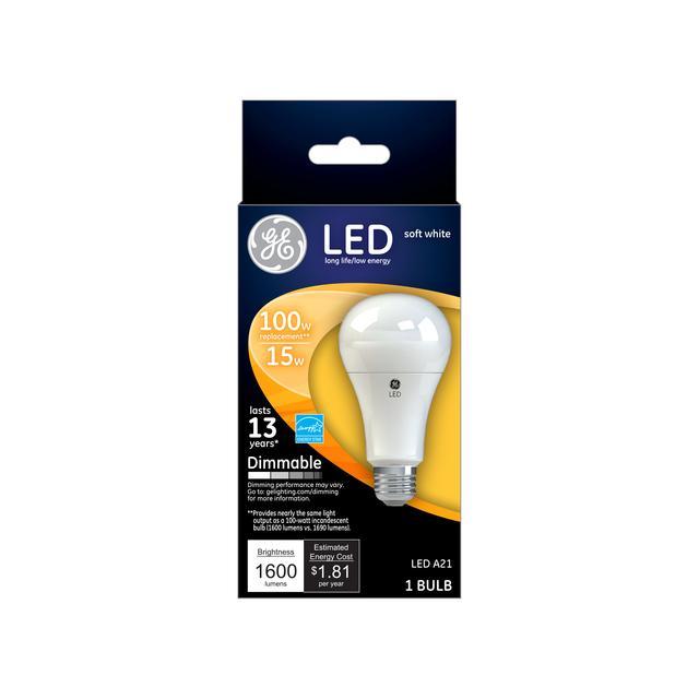 Emballage avant de GE Soft White LED 100 W Remplacement intérieur à usage général A21 Ampoule de lumière (1-Pack)