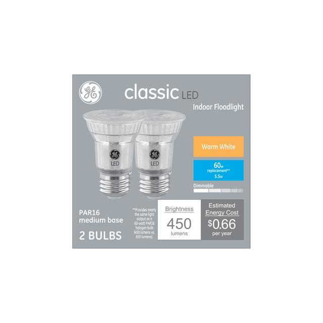 Ensemble avant de GE Classic Warm White 60 W Remplacement LED Floodlight PAR16 Ampoules de lumière (2-Pack)