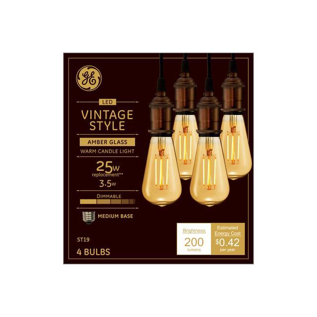 Emballage avant de GE Vintage LED 25 W Remplacement Amber Finish Filament droit Décoartive Medium Base ST19 Ampoules de lumière (4-Pack)