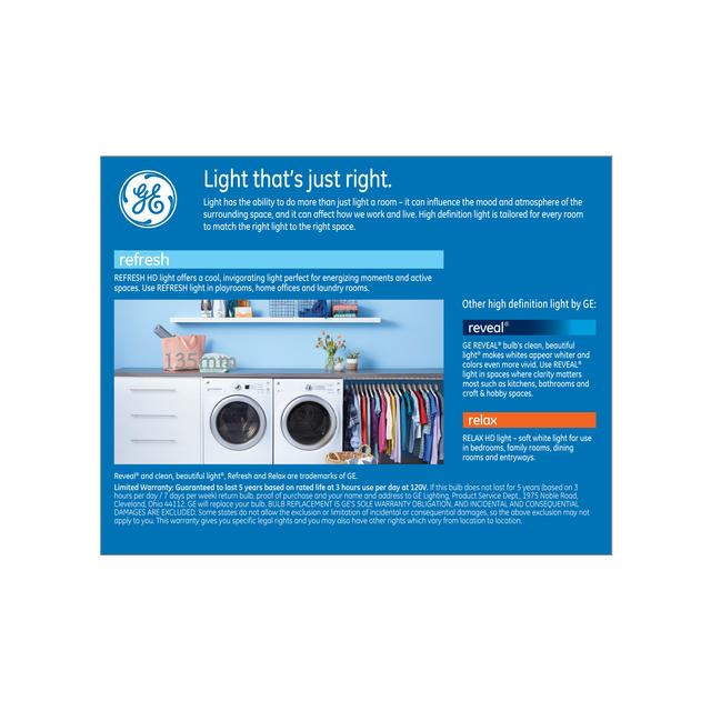 Paquet arrière de GE Refresh HD Daylight 60W Ampoules LED de remplacement Globe décoratif Blanc Medium Base G25 (2-Pack)