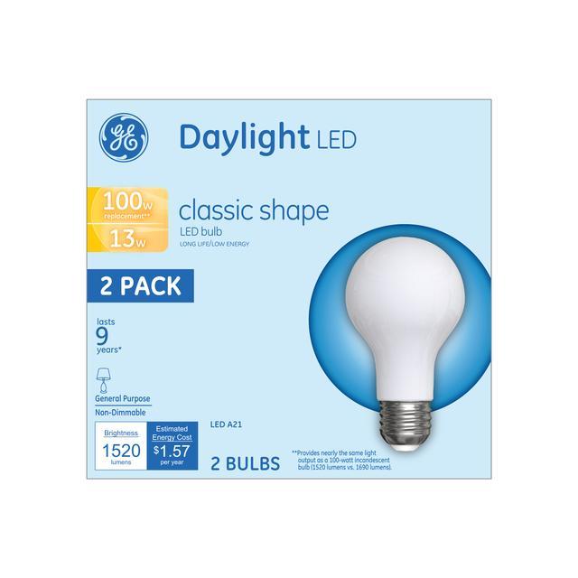 Emballage avant d'ampoules LED de remplacement GE Daylight 100 W Usage général A21