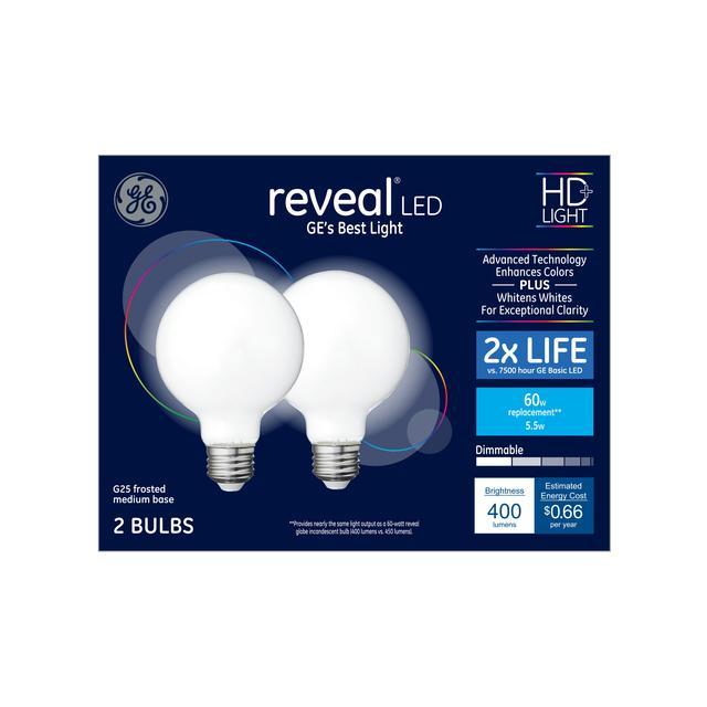 Emballage avant de GE Reveal HD+ Amouvie améliorant 60 W remplacement LED Décoratif Globe Base moyenne G25 Bulb