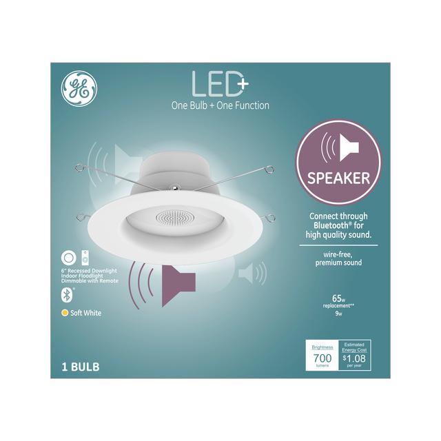 """Ensemble avant du haut-parleur GE LED + Soft White 65 W Led replacement LED 6 """" Recessed Downlight RS6 Light Fixture (1-Pack)"""