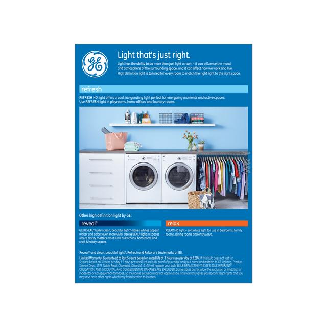 Paquet arrière de GE Refresh HD Daylight 60W Ampoules LED de remplacement Blanc Usage général A19 (4-Pack)