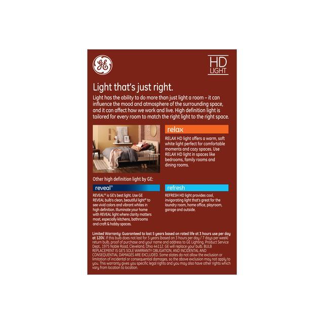 Paquet arrière de GE Relax HD Soft White 60W LED Ampoules décoratives Clear Globe Medium Base G30 (1-Pack)