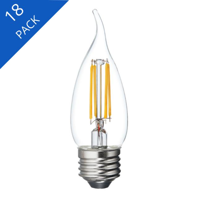 Image du produit de GE Relax HD Soft White 60W Remplacement LED Clear Decorative Bent Tip Medium Base CAM Éclairages (3-Pack)