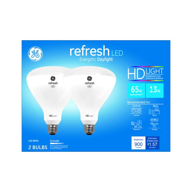 Paquet avant de GE Refresh HD Daylight 85W Remplacement ampoules LED Projecteur intérieur BR40 (2-Pack)