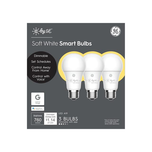 Front package of C by GE Soft White A19 Smart LED Bulbs (3-Pack)