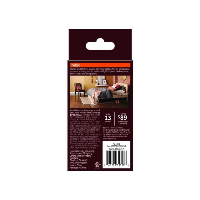 Paquet de dos de GE Relax HD Soft White 60W Remplacement ampoules LED Ampoules décoratives Clear Blunt Tip Base moyenne BM (2-Pack)