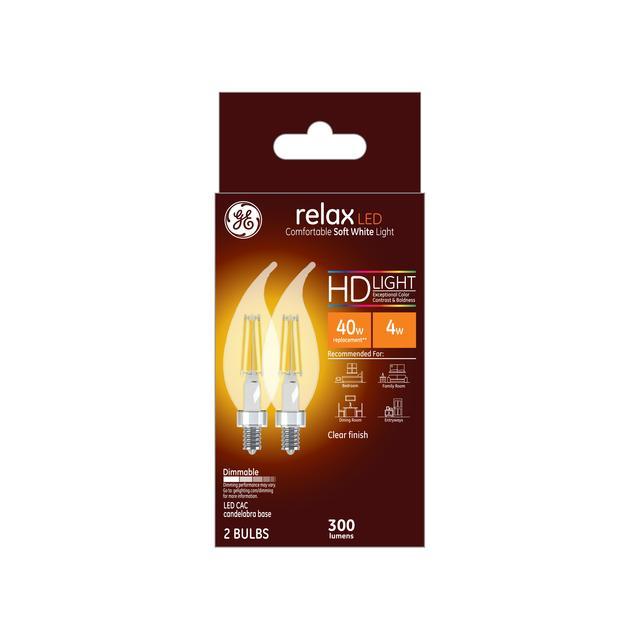 Paquet avant de GE Relax HD Soft White 40 W Remplacement ampoules LED Ampoules décoratives à pointe claire Candélabre Base CAC