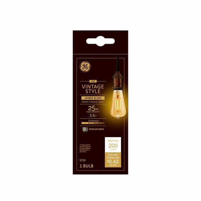 Emballage avant de GE Vintage LED 25 W Remplacement Amber Finish Filament droit Décoartive Medium Base ST19 Ampoule de lumière (1-Pack)