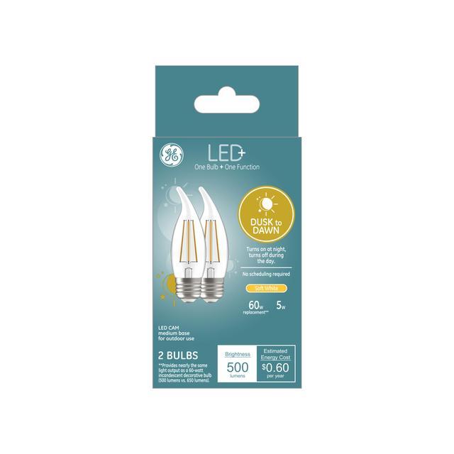Ensemble avant de LED+ Crépuscule à Dawn Soft White 60 W Remplacement LED Décoratif Pointe Dent Base moyenne CAM Ampoules (2-Pack)