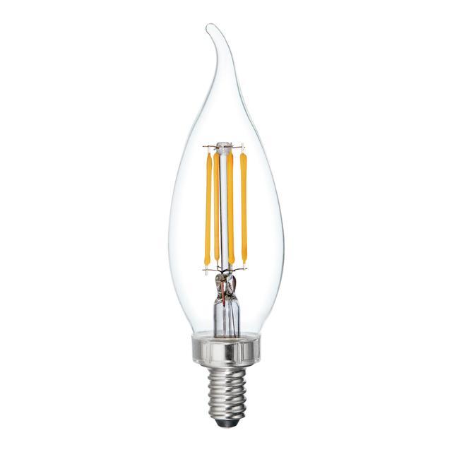 Image du produit de Relax HD Soft White 40W Remplacement LED Clair Décoratif Bent Tip Candelabra Base CAC Light Bulbs (3-Pack)
