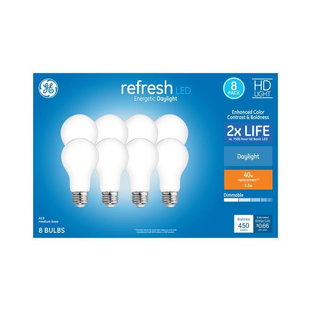 Paquet avant de GE Refresh HD Daylight 40 W Remplacement ampoules LED à usage général A19