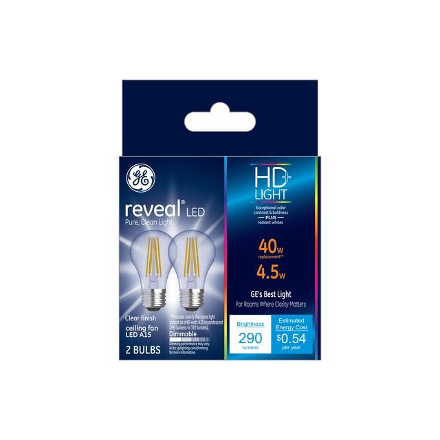 Ensemble avant de GE Reveal HD+ Écouleurs de 40W Ampoules LED de remplacement Clear Ceiling Fan Medium Base A15 (2-Pack)