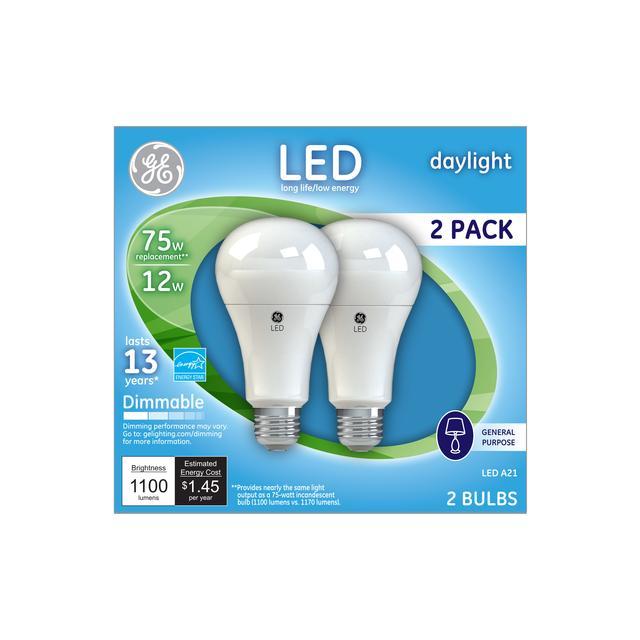 Paquet avant de GE Daylight 75 W Remplacement LED à usage général A21 Ampoule de lumière (2-Pack)