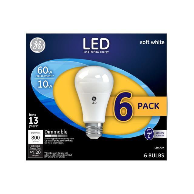 Paquet avant de GE Soft White LED 60 W Remplacement à usage général A19 Ampoules de lumière (6-Pack)
