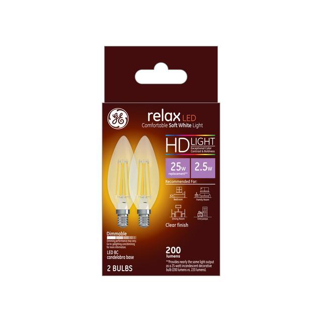 Paquet avant de GE Relax HD Soft White 25W Ampoules LED de remplacement Décoratif Clear Blunt Tip Candelabra Base BC (2-Pack)