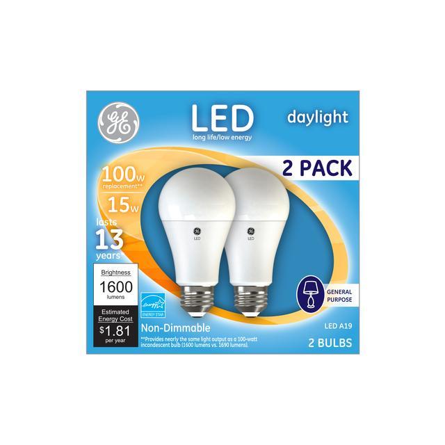 Emballage avant de GE Daylight 100 W Remplacement LED à usage général intérieur A19 Ampoule (2-pack 2)