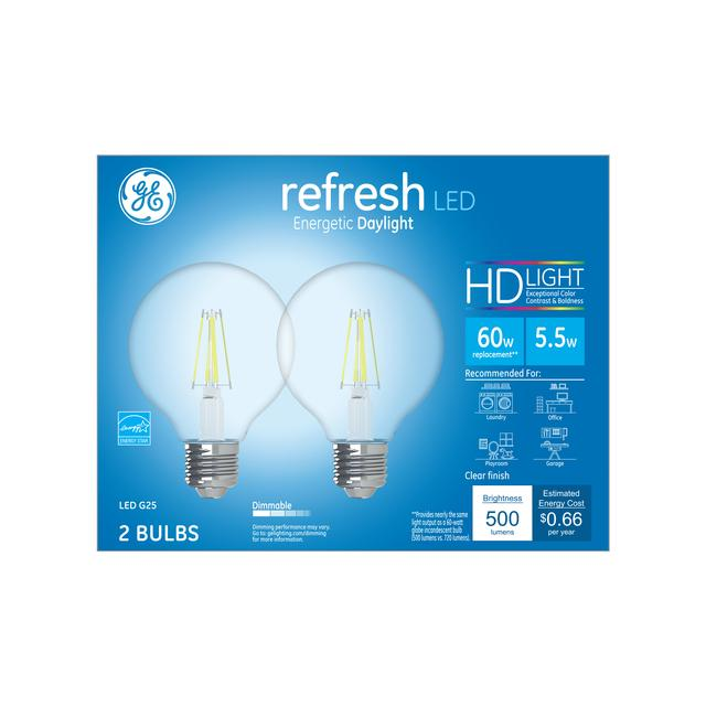 Paquet avant de GE Refresh HD Daylight 60W Ampoules LED de remplacement Décoratif Clear Globe Medium Base G25 (2-Pack)