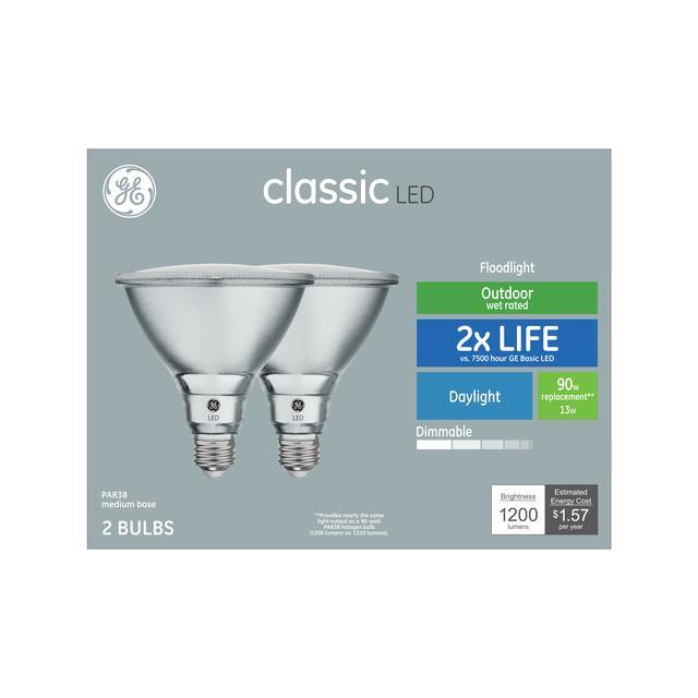Ensemble avant de GE Classic Daylight 90 W Remplacement LED Floodlight extérieur PAR38 Ampoules de lumière (2-Pack)