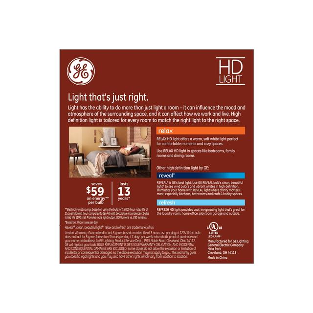 Back package of GE Relax HD Soft White 40W Replacement LED Decorative Bent Tip Candelabra Base CAC Bulbs (3-Pack)