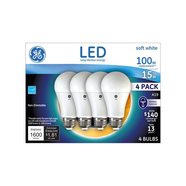 Emballage avant de GE Soft White 100 W Remplacement LED à usage général à usage général non dimmable A19 Ampoules lumineuses