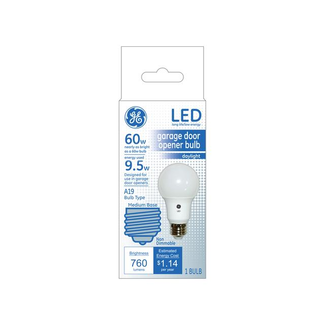 Paquet avant de GE Daylight LED 60 W Remplacement Garage Door Opener A19 Light Bulb (1-Pack)