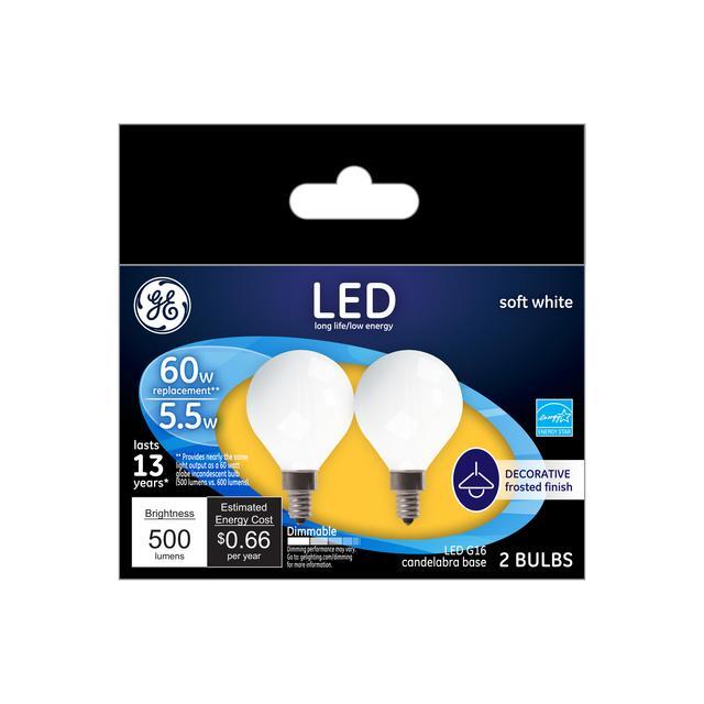 Paquet avant de GE Soft White 60 W Remplacement ampoules LED Décorative Globe White Candelabra Base GC (2-Pack)