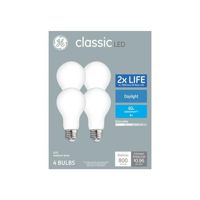 Paquet avant de Classic Daylight 60 W Remplacement LED à usage général A19 Ampoules (4-pack)