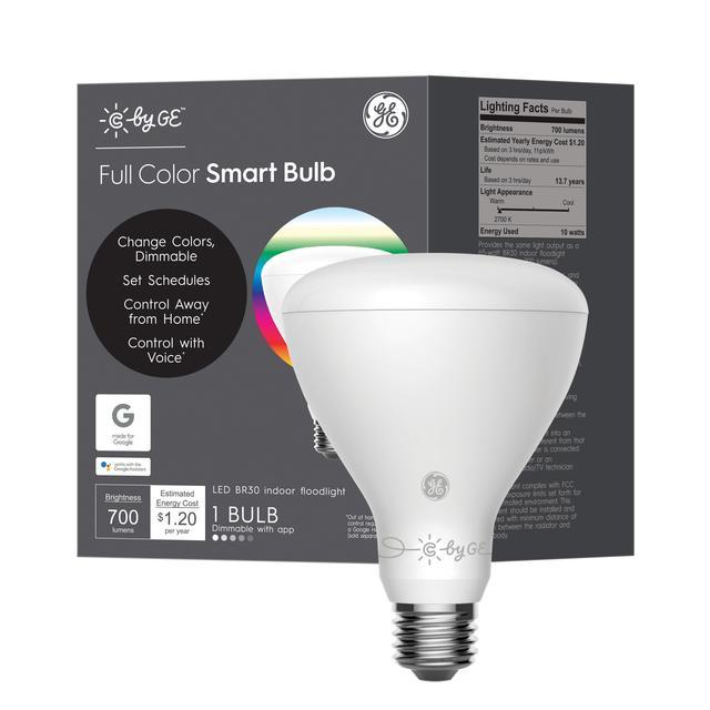 Ensemble avant de GE Smart 10 -Watt EQ LED Br30 Full Spectrum Dimmable Smart Flood Light Bulb (L'emballage peut varier)