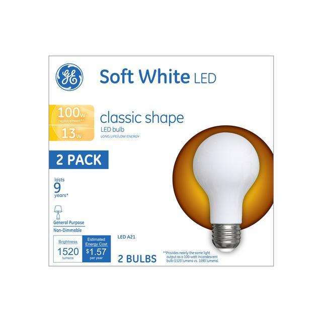 Emballage avant d'ampoules LED de remplacement GE Soft White 100 W Usage général A21