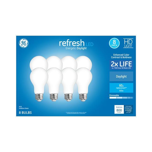 Paquet avant de GE Refresh HD Daylight 60 W Remplacement ampoules LED à usage général A19