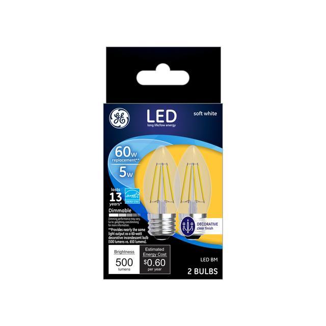 Paquet avant de GE Soft White 60 W Remplacement ampoules LED Décorative Clear Blunt Tip Candélabre Base BM