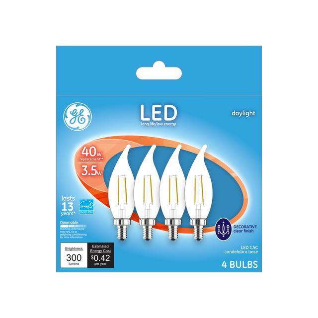 Emballage avant de GE 40 W Remplacement Lumière du jour Dimmable LED Ampoule décorative CA (4-Pack)
