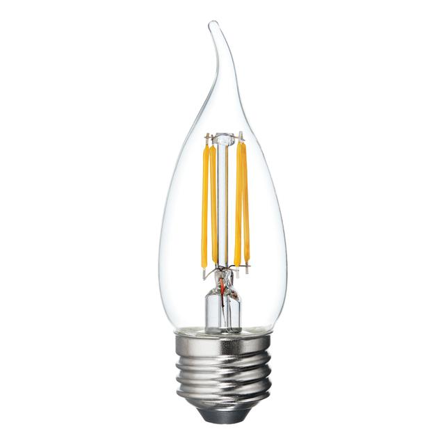 Image du produit de Relax HD Soft White 60W Remplacement LED Clear Decorative Bent Tip Medium Base CAM Éclairages (3-Pack)