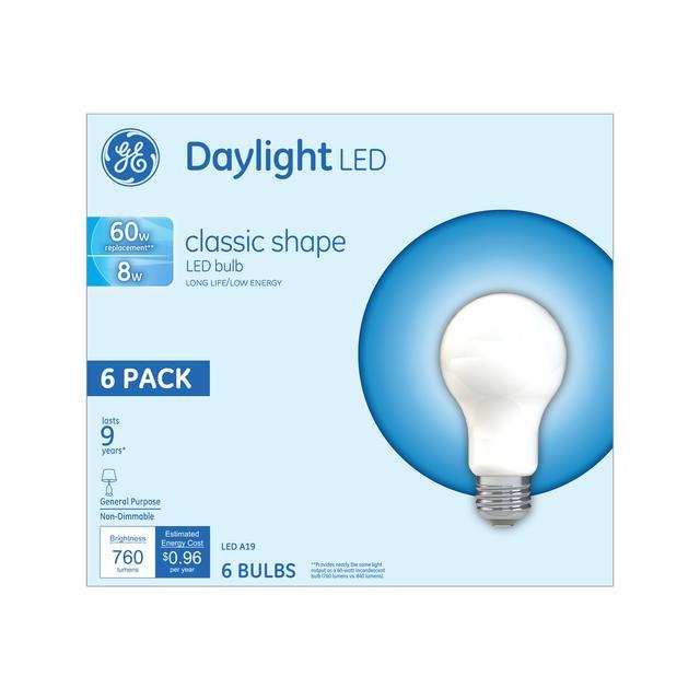 Emballage avant d'ampoules à usage général à A19 usage général non dimmables GE Daylight 60 W de remplacement (6-Pack)