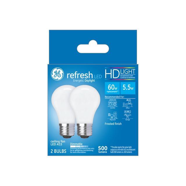 Paquet avant de GE Refresh HD Daylight 60W Remplacement AMPOULES LED Ventilateur de plafond Base moyenne Blanc A15 (2-Pack)