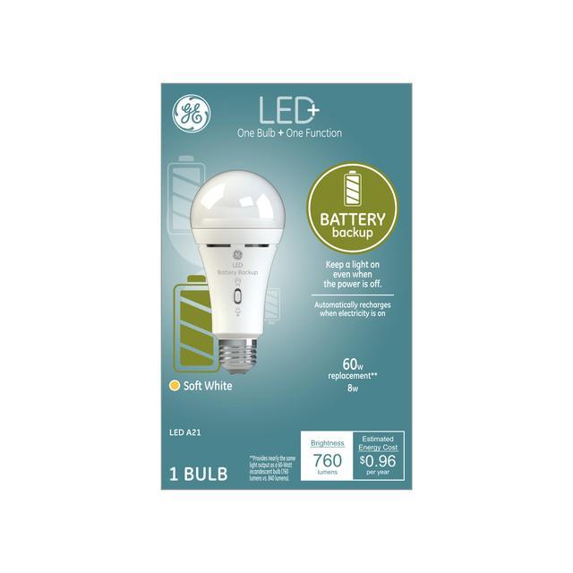 Ensemble avant de ge LED+ Batterie Backup Soft White 60 W Remplacement LED General Purpose A21 Light Bulb (1-Pack)