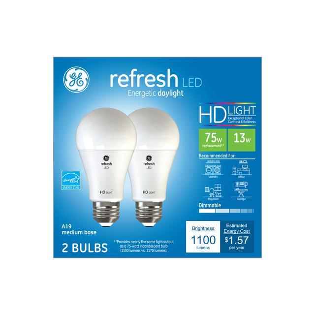 Paquet avant de GE Refresh HD Daylight 75 W Remplacement LED à usage général intérieur A19 Ampoules de lumière (2-Pack)