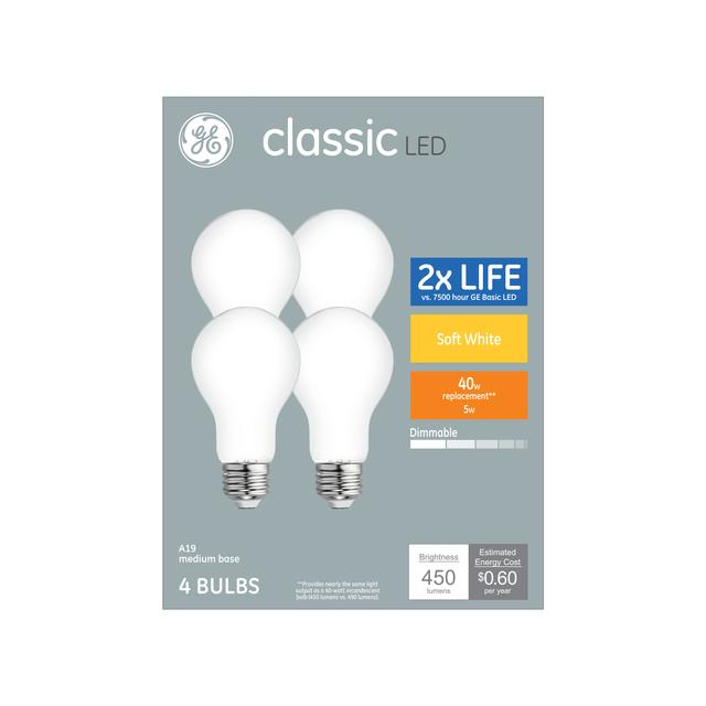 Paquet avant de classic soft white 40 W remplacement LED à usage général A19 Ampoules de lumière (4-Pack)