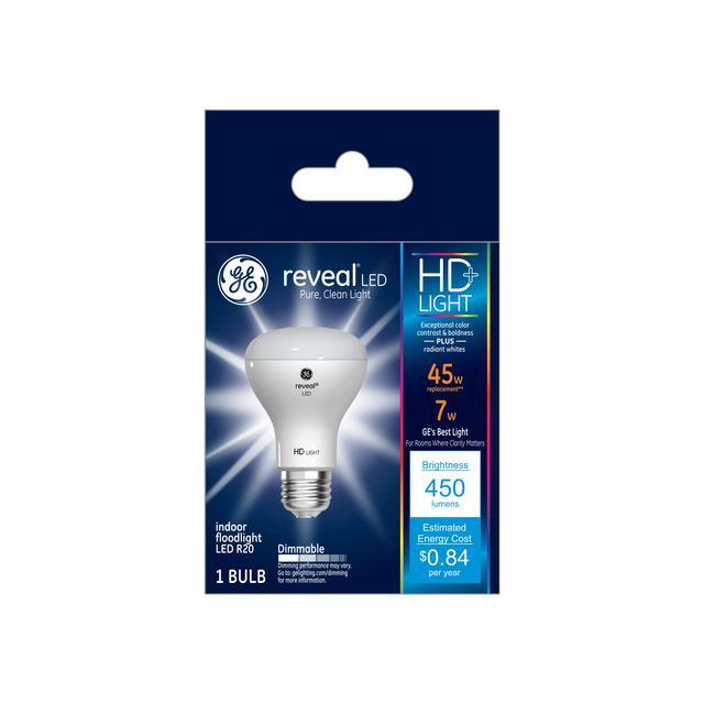 Ensemble avant de GE Reveal HD+ Éclairage LED de remplacement de 45 W améliorant la couleur Projecteur intérieur R20 (1-Pack)